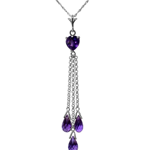 Genuine 4.75 ctw Amethyst Necklace 14KT White Gold - REF-37T4A