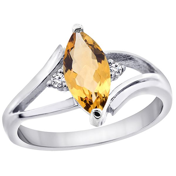 1.04 CTW Citrine & Diamond Ring 14K White Gold - REF-31V2R