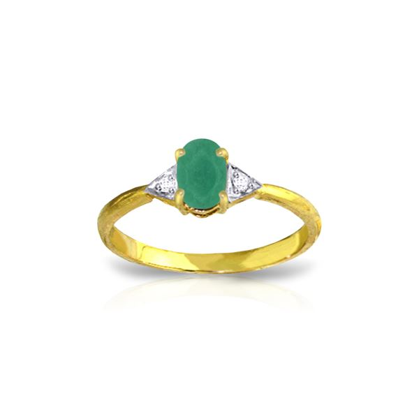 Genuine 0.51 ctw Emerald & Diamond Ring 14KT Yellow Gold - REF-29F2Z