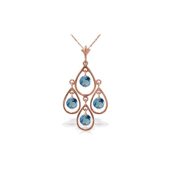 Genuine 1.20 ctw Blue Topaz Necklace 14KT Rose Gold - REF-30X7M