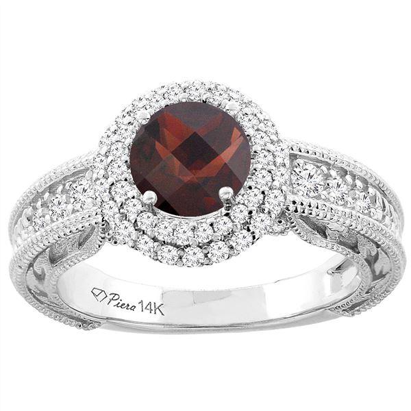 1.46 CTW Garnet & Diamond Ring 14K White Gold - REF-86Y6V