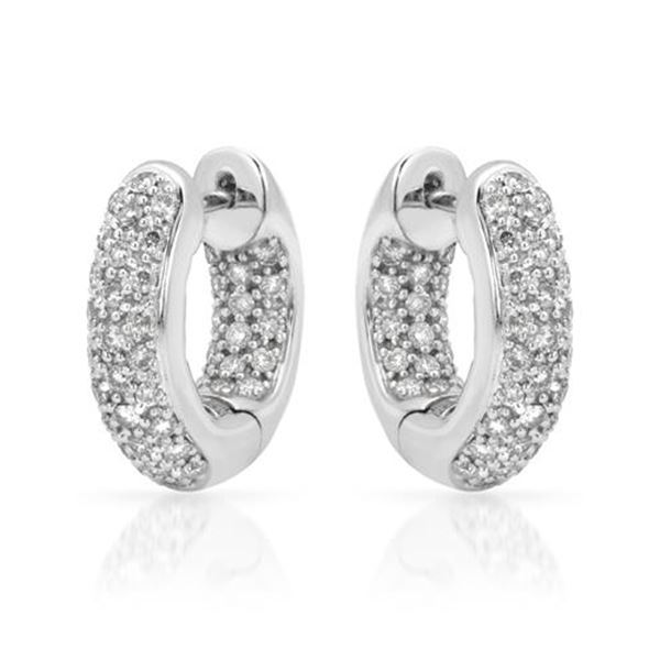 Natural 1.01 CTW Diamond Earrings 14K White Gold - REF-118F8M