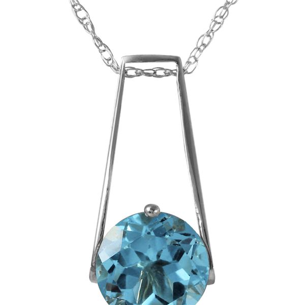 Genuine 1.45 ctw Blue Topaz Necklace 14KT White Gold - REF-23H8X