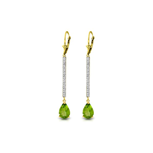 Genuine 3.6 ctw Peridot & Diamond Earrings 14KT Yellow Gold - REF-50H9X