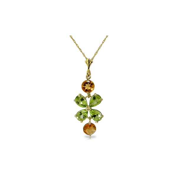 Genuine 3.15 ctw Peridot & Citrine Necklace 14KT Yellow Gold - REF-30F3Z