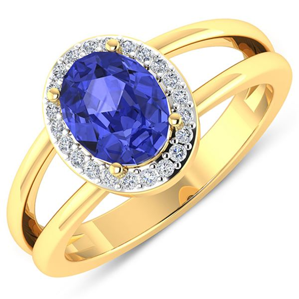 Natural 1.82 CTW Tanzanite & Diamond Ring 14K Yellow Gold - REF-71N9R