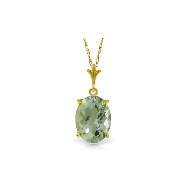Genuine 3.2 ctw Green Amethyst Necklace 14KT Yellow Gold - REF-20W4Y