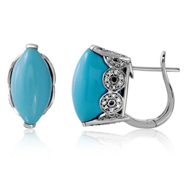 Natural 13.98 CTW Turquoise & Diamond Earrings 14K White Gold - REF-69W3H