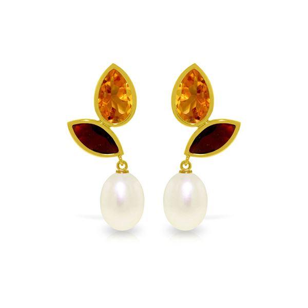 Genuine 16 ctw Pearl, Garnet & Citrine Earrings 14KT Yellow Gold - REF-42Z2N