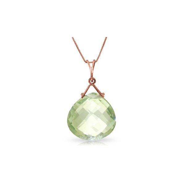 Genuine 8.5 ctw Green Amethyst Necklace 14KT Rose Gold - REF-26T9A