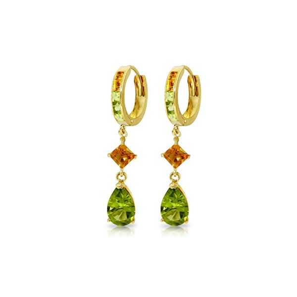 Genuine 5.15 ctw Peridot & Citrine Earrings 14KT Yellow Gold - REF-61R8P