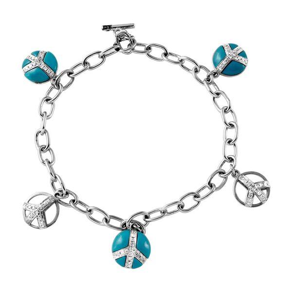 Natural 3.21 CTW Turquoise & Diamond Bracelet 14K White Gold - REF-84F6M