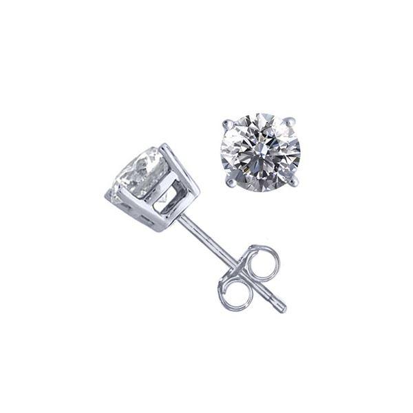 14K White Gold 1.52 ctw Natural Diamond Stud Earrings - REF-394M9K