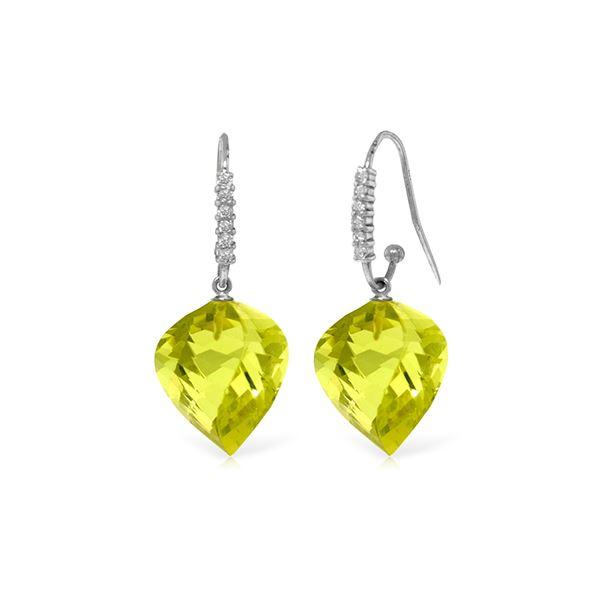 Genuine 21.68 ctw Lemon Quartz & Diamond Earrings 14KT White Gold - REF-58V2W