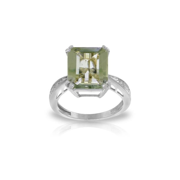 Genuine 5.62 ctw Green Amethyst & Diamond Ring 14KT White Gold - REF-82X9M
