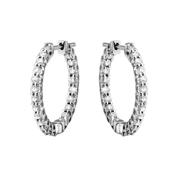 1.83 CTW White Round Diamond Hoop Earring 14K White Gold - REF-172X7W