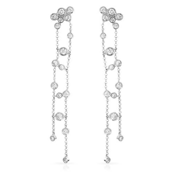 Natural 0.94 CTW Diamond Earrings 14K White Gold - REF-85T5X