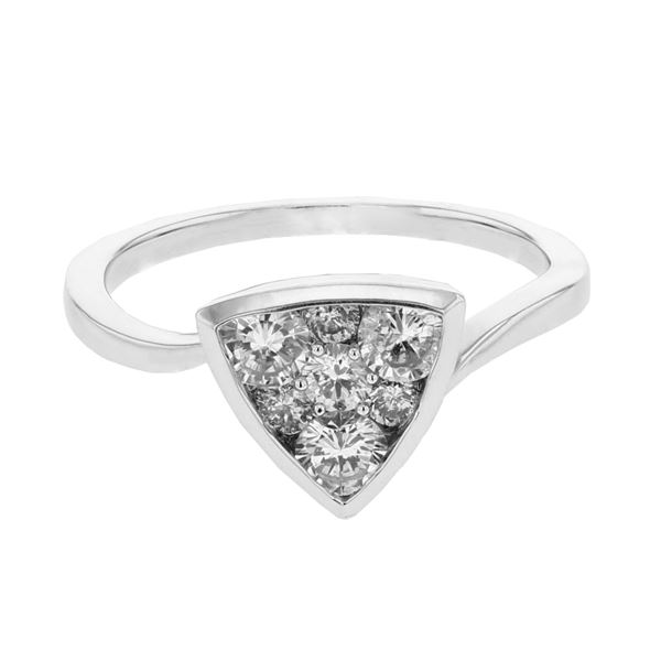 Natural 0.75 CTW Diamond Ring 14K White Gold - REF-108N9Y