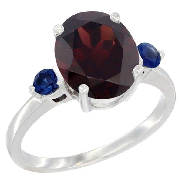 2.64 CTW Garnet & Blue Sapphire Ring 10K White Gold - REF-27Y3V
