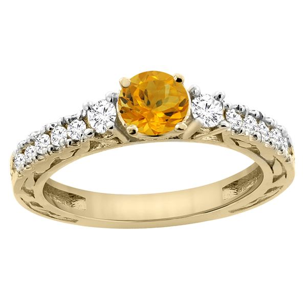1.10 CTW Citrine & Diamond Ring 14K Yellow Gold - REF-79X3M