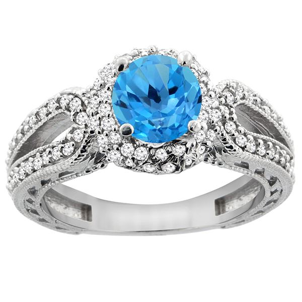 1.50 CTW Swiss Blue Topaz & Diamond Ring 14K White Gold - REF-86R9H
