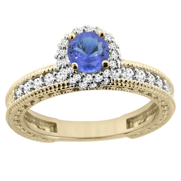 0.94 CTW Tanzanite & Diamond Ring 14K Yellow Gold - REF-68R3H