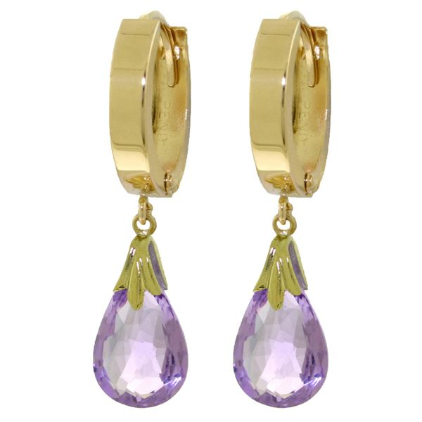 Genuine 6 ctw Amethyst Earrings 14KT Yellow Gold - REF-47X4M