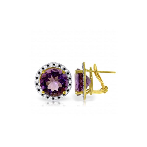 Genuine 12.4 ctw Amethyst, White & Black Diamond Earrings 14KT Yellow Gold - REF-124R2P