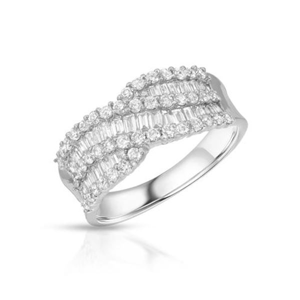 Natural 1.11 CTW Diamond & Baguette Ring 18K White Gold - REF-170F3M