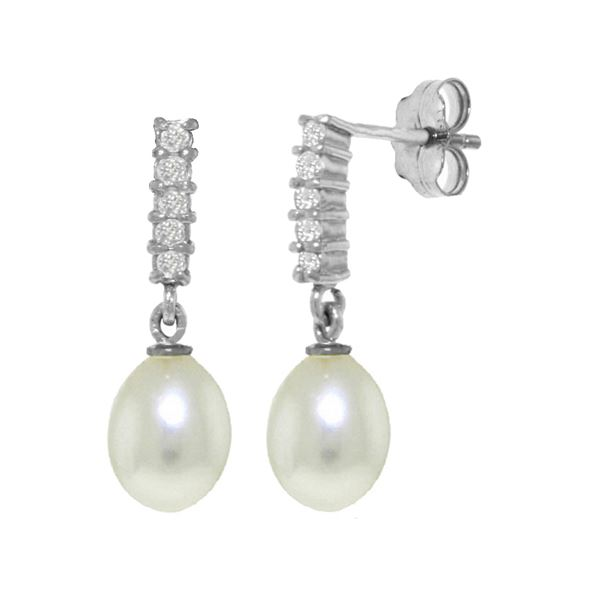 Genuine 8.15 ctw Pearl & Diamond Earrings 14KT White Gold - REF-33N2R