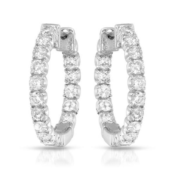 1.87 CTW White Round Diamond Hoop Earring 14K White Gold - REF-181V8T