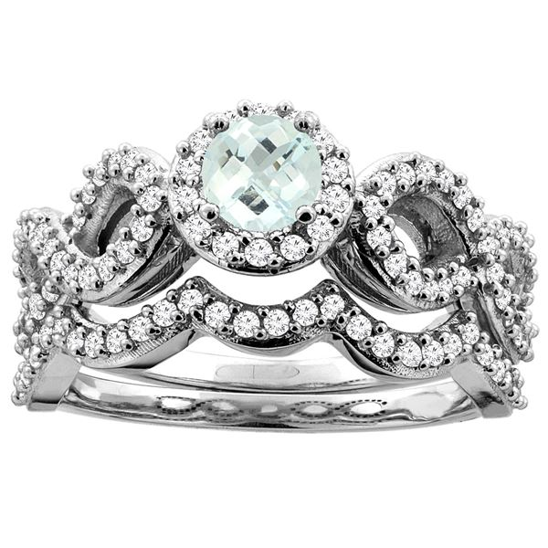 0.92 CTW Aquamarine & Diamond Ring 14K White Gold - REF-94K3W