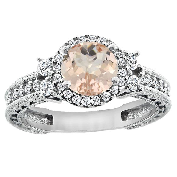 1.46 CTW Morganite & Diamond Ring 14K White Gold - REF-83K2W