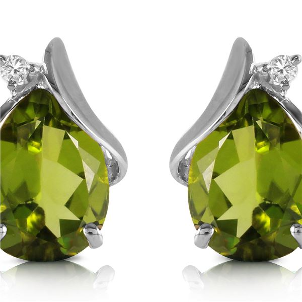 Genuine 4.26 ctw Peridot & Diamond Earrings 14KT White Gold - REF-46T2A