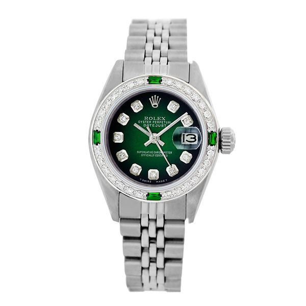 Rolex Pre-owned 26mm Womens Custom Green Vignette Stainless Steel