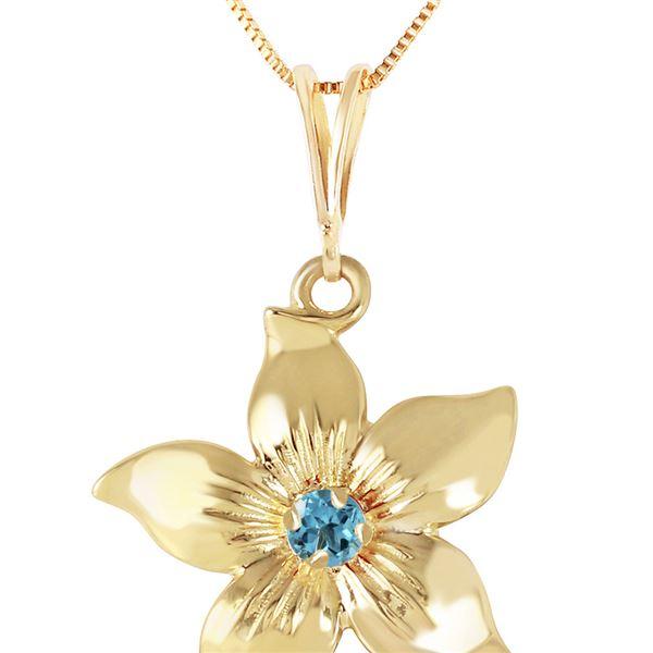 Genuine 0.10 CTW Blue Topaz Necklace 14KT Yellow Gold - REF-38K2V
