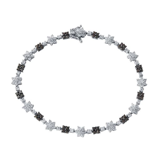 Natural 2.88 CTW Diamond & Black Round Diamond Bracelet 14K White Gold - REF-167K4R