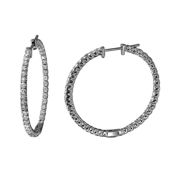 1.68 CTW White Round Diamond Hoop  Earring 14K White Gold - REF-181N8A