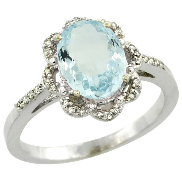 1.52 CTW Aquamarine & Diamond Ring 10K White Gold - REF-42R5H