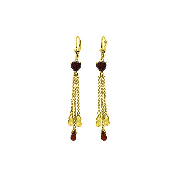 Genuine 9.5 ctw Garnet & Citrine Earrings 14KT Yellow Gold - REF-62Y2F