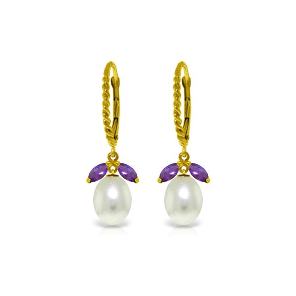 Genuine 9 ctw Amethyst & Pearl Earrings 14KT Yellow Gold - REF-39X3M