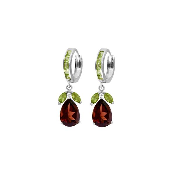 Genuine 14.3 ctw Garnet & Peridot Earrings 14KT White Gold - REF-93X3M