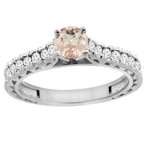 0.74 CTW Morganite & Diamond Ring 14K White Gold - REF-63M8A