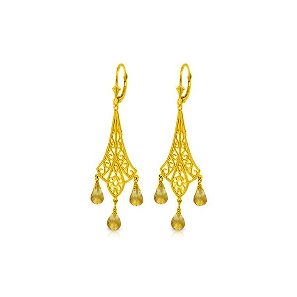 Genuine 4.2 ctw Citrine Earrings 14KT Yellow Gold - REF-57W3Y