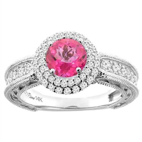 1.50 CTW Pink Topaz & Diamond Ring 14K White Gold - REF-91H8M