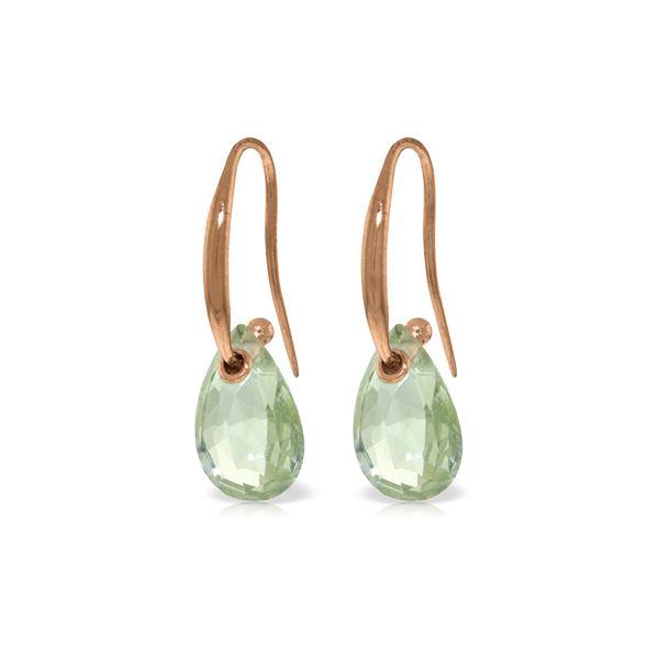 Genuine 8 ctw Green Amethyst Earrings 14KT Rose Gold - REF-36M8T
