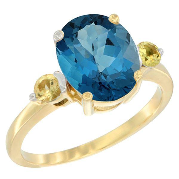 2.64 CTW London Blue Topaz & Yellow Sapphire Ring 10K Yellow Gold - REF-25W3F