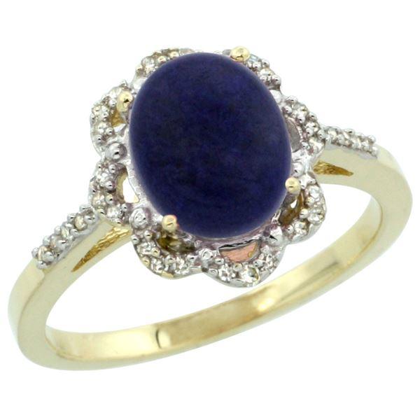 1.98 CTW Lapis Lazuli & Diamond Ring 14K Yellow Gold - REF-44A2X