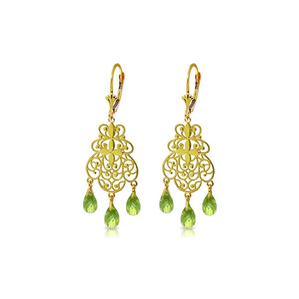 Genuine 3.75 ctw Peridot Earrings 14KT Yellow Gold - REF-58X3M
