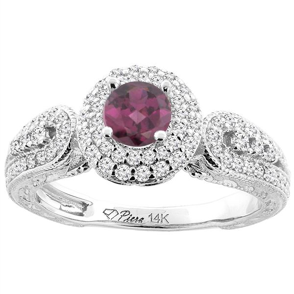 1.10 CTW Rhodolite & Diamond Ring 14K White Gold - REF-89W3F